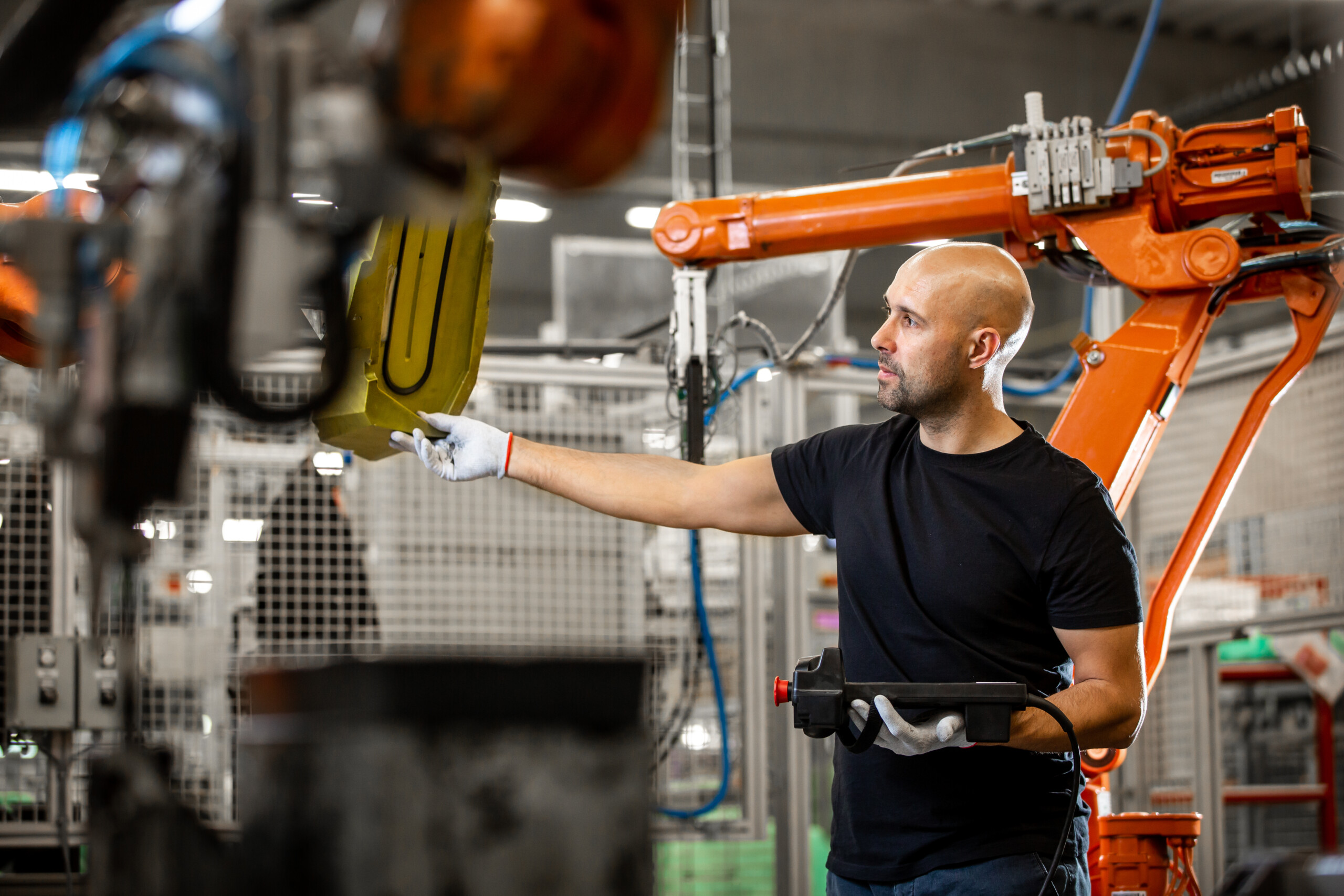 Engineer repairing an automatic robot amrs in automotive, smart